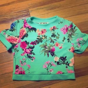 FINAL SALE Mint green floral crop top